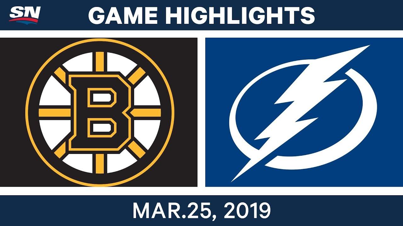 nhl game highlights bruins vs lightning march 25 2019