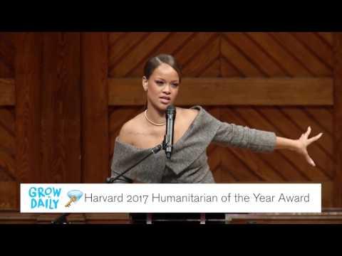 Rihanna at Harvard Receiving their 2017 Humanitarian of the Year Award | #GrowDailyGems
