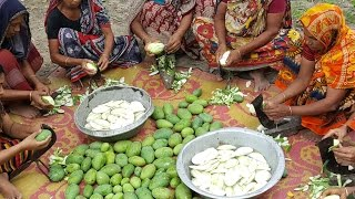 50 KG Green Mango Prepared / Cooking By Villagers For Charity Foods To feed Children thumbnail