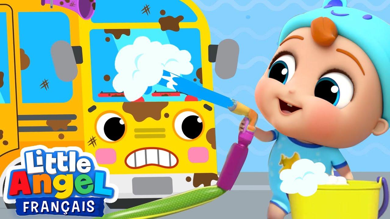 Les roues du bus au lavage auto | Comptines pour les bébés | Little Angel Français