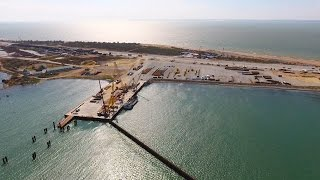 Крымскій мостъ 4K: Строительство на островѣ Тузла (от фарватера до РМ-2)