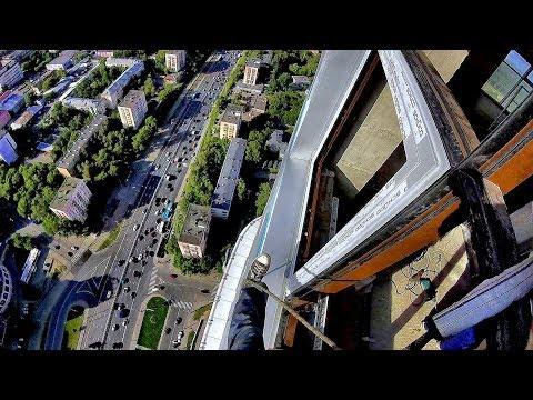 52 этаж страшно красиво и опасно, алюминиевые окна - монтаж альпинистами