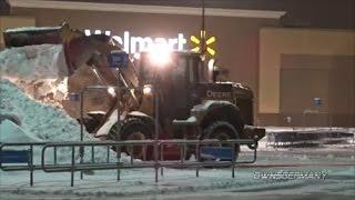 Walmart Snowplowing Heavy Snow With John Deere 624K & Komatsu WA320 Loaders