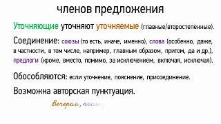 Обособление уточняющих членов предложения (8 класс, видеоурок-презентация)