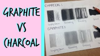 Charcoal Vs Graphite- Differences in Shine, Laying down, Blending & Erasing