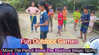 Move Pencil Along The Rainbow Magic Spring By Chopsticks | Team Building Game | Fun Outdoor Games