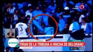 Tiran de la tribuna a hincha de Belgrano: tiene muerte cerebral