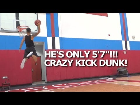 """He's ONLY 5'7""""!! KICK off the WALL DUNK & MORE! Darien McClain has HOPS!"""