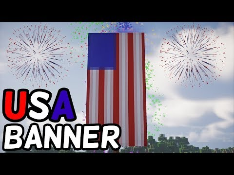 How To Make A USA Flag Banner In Minecraft! (1.14+) (LOOM CRAFTING)