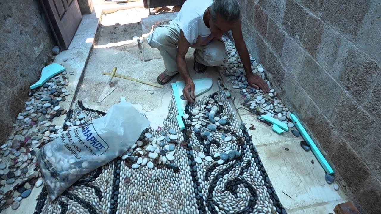 Traditional Greek Pebblestone Mosaic Artist Stelios Grekos
