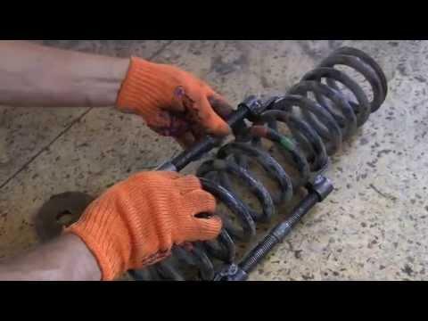 Мерседес 123 Как установить пружину с помощью стяжек, замена пружины