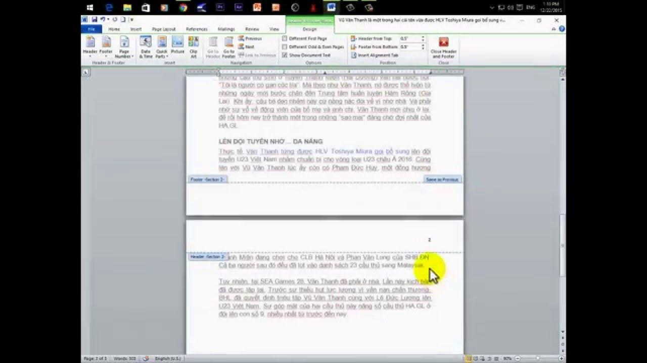 Cách đánh số trang bất kỳ trong Word 2010