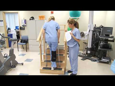 Crutch Walking On Stairs Partial Or Touch Down Weight Bearing Youtube