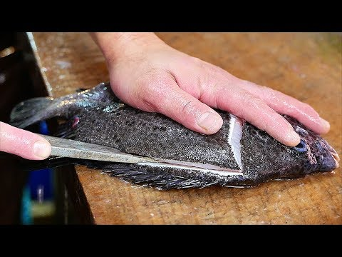 Japanese Street Food - SPOTTED KNIFEJAW Garlic Butter Fried Fish Okinawa Seafood Japan
