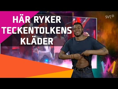 Samir & Viktors teckenspråkstolk tar av sig kläderna i Melodifestivalen 2016