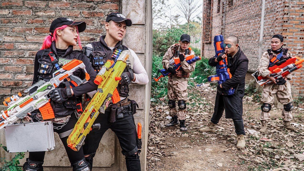 LTT Game Nerf War : Couple Mercenary Sniper Warriors SEAL X Nerf Guns Fight Rocket Crazy