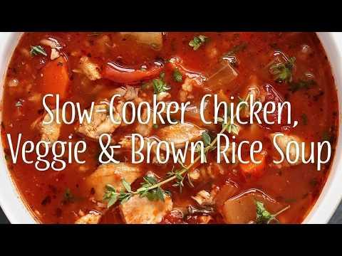Slow Cooker Chicken, Veggie & Brown Rice Soup