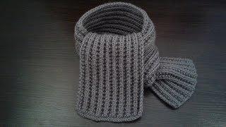 Детский шарф спицами. Шарф граненной резинкой.