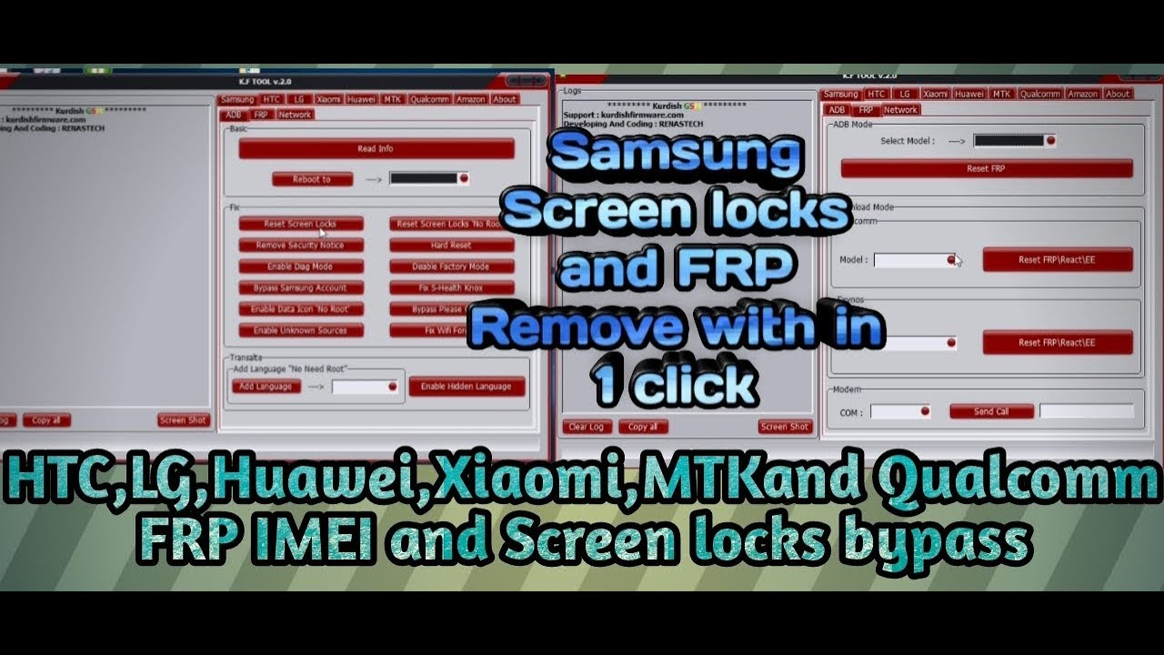 KF tool v2 0 For Samsung Screen locks and FRP Bypass Free Download