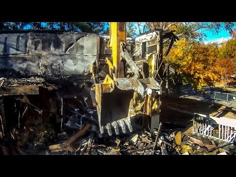 CASE Excavator Demolishes Apartment (Operator View) - HD