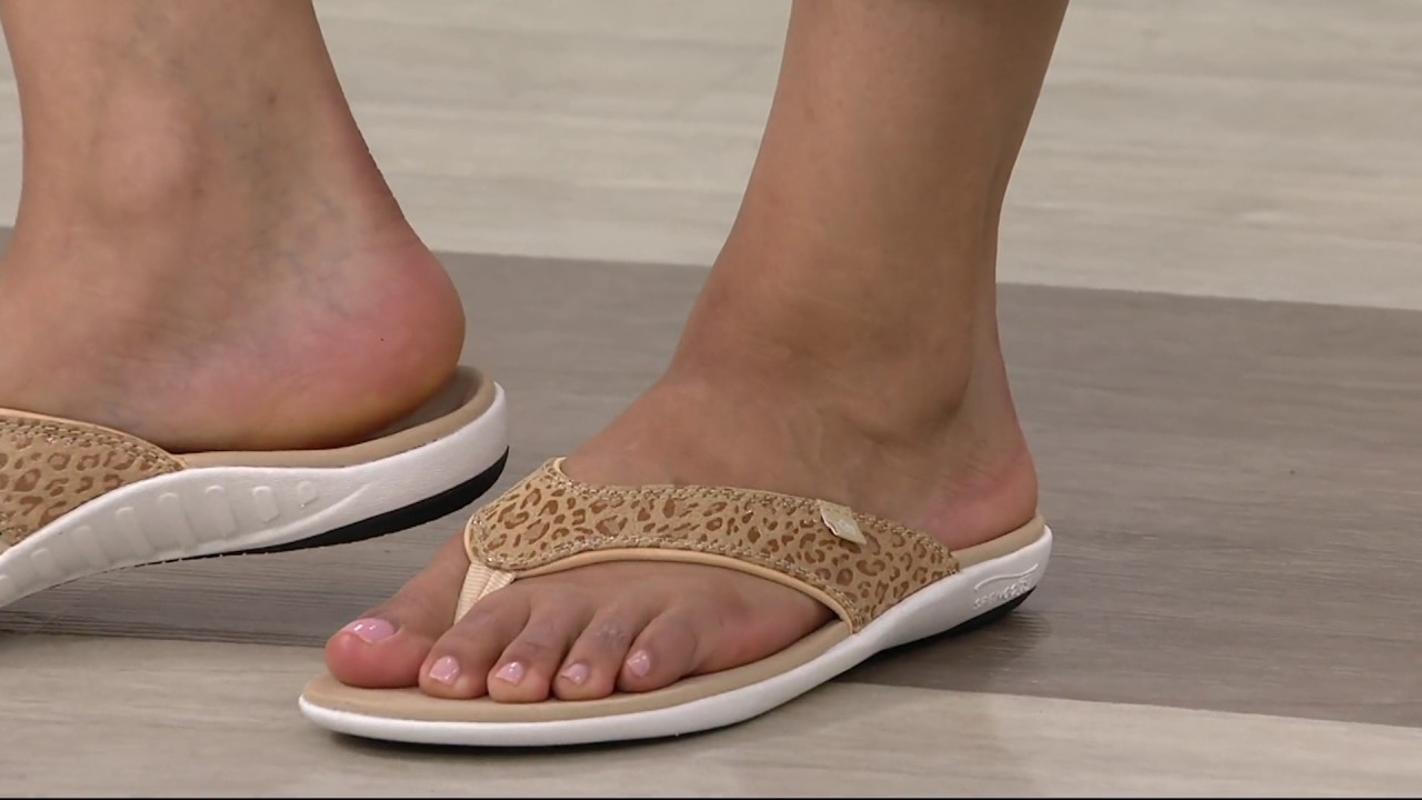 41afa1c2093 Spenco Orthotic Thong Sandals - Yumi Cheeta Print on QVC - YouTube