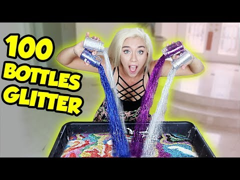 MIXING 100 BOTTLES OF GLITTER INTO A GIANT MARSHMELLOW SLIME | SO SATISFYING