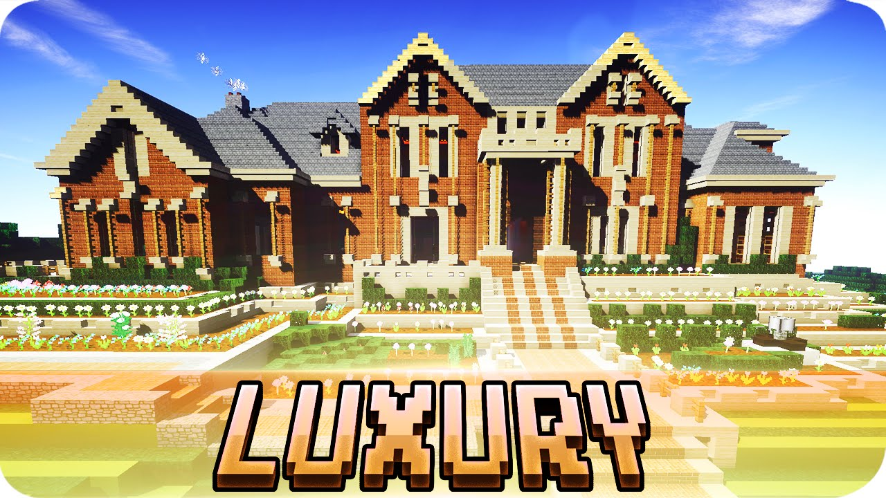 minecraft large luxury mansion brick house design with download
