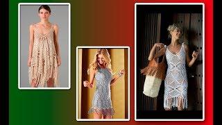 Модели вязания.Дамские  летние платья и сарафаны с бахромой.