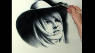 Portrait Drawing Girl in a hat on a black background. Portrait Commission by Dry Brush