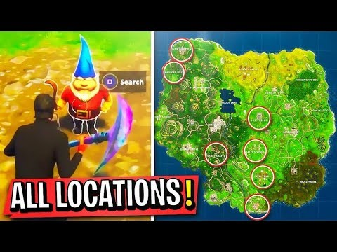 "All Fortnite ""Search the Hidden Gnome in different Named Locations"" Week 7 Challenge Gameplay"