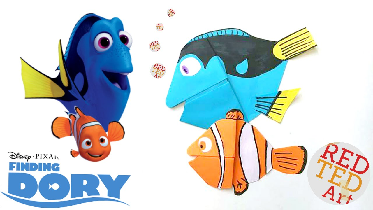 96ca9f54086 Finding Dory Bookmark - Easy Dory DIY - Paper Crafts Origami - Collab with  Natasha Lee - YouTube