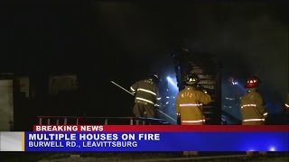 Fire destroys garage and damages nearby houses, family suspects arson