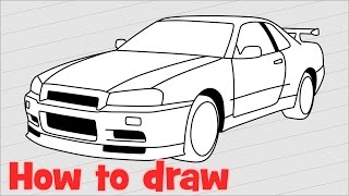 Drawing a car Nissan Skyline GTR R34