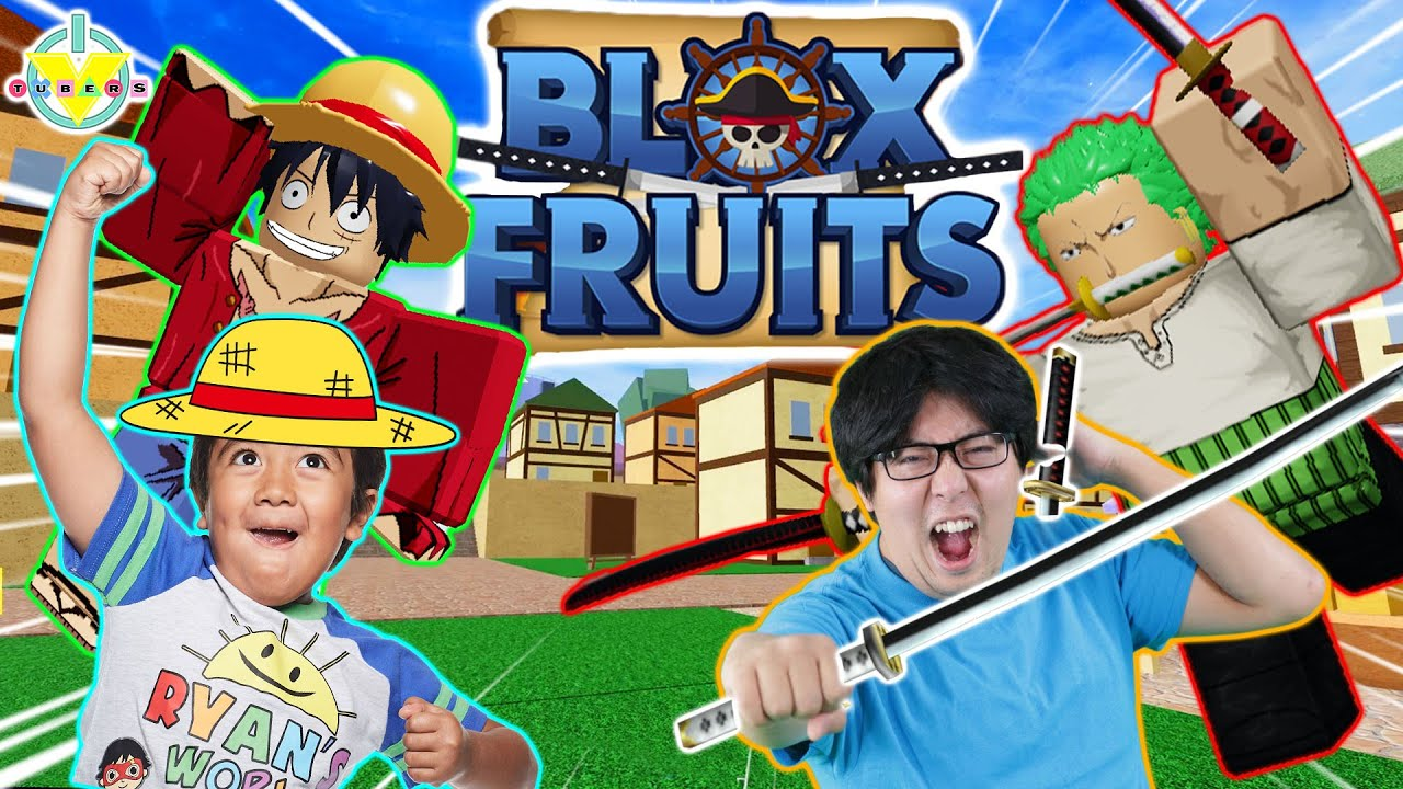 FOOD CHALLENGE IN ROBLOX! Ryan Let's Play Roblox Blox Fruit with Ryan's Daddy!