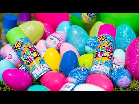 Thumbnail: HUGE Silly String Easter Egg Hunt Paw Patrol Shopkins Bunny Surprise Eggs for Kids Kinder Playtime