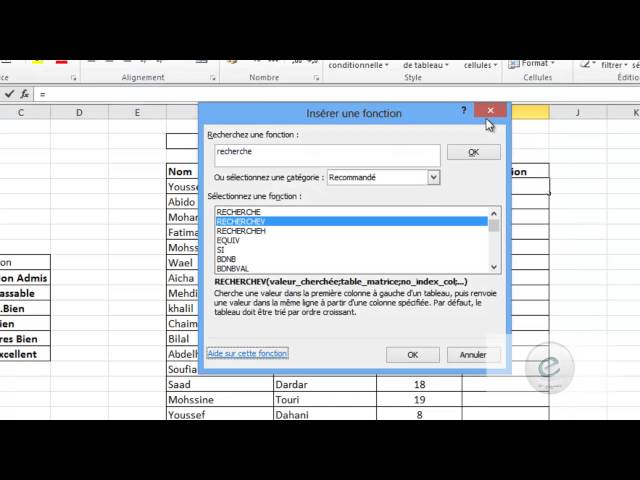 22 MS Excel : La Fonction RECHERCHEV