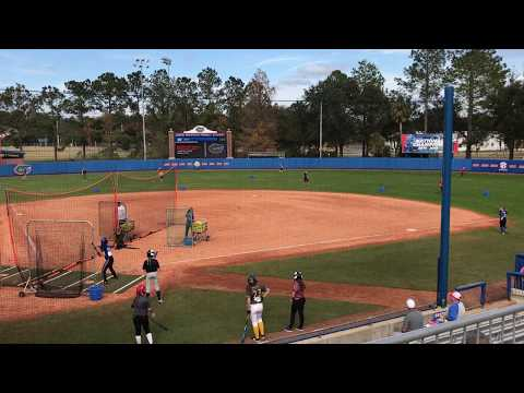 KaiLi Gross showing her power at Univ of Florida 2017 winter softball camp