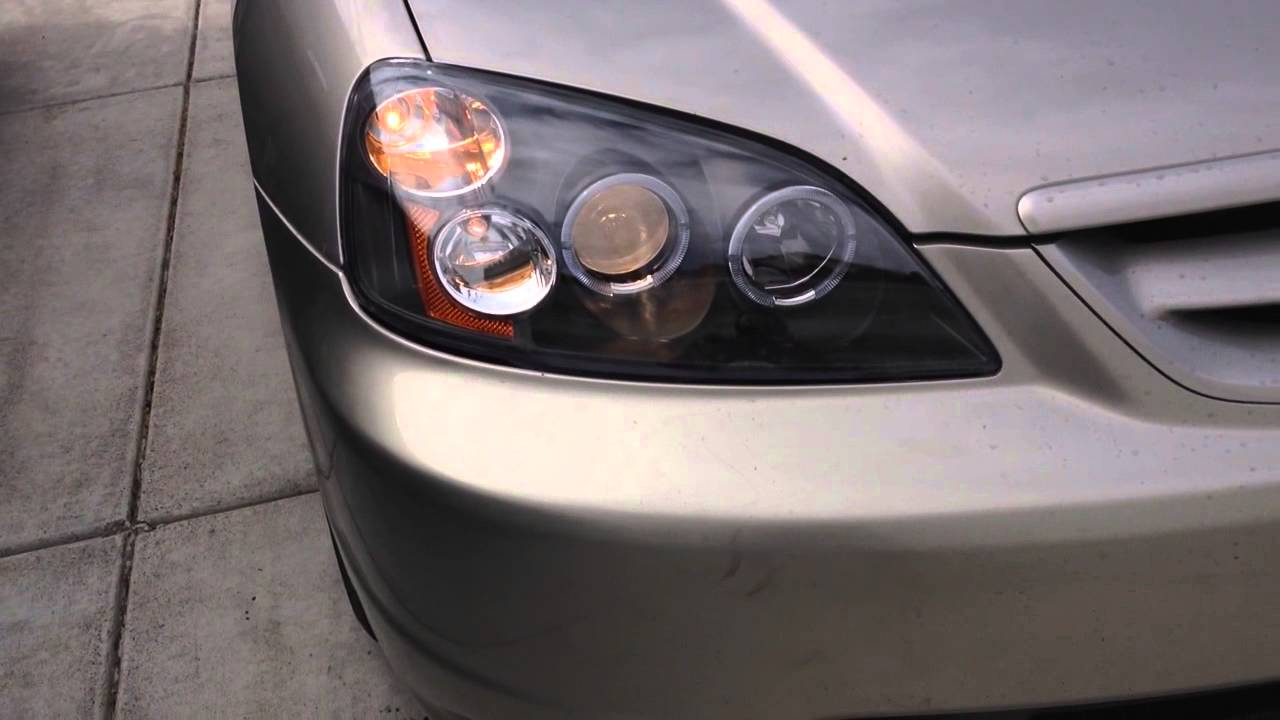 Honda Civic Headlights >> Aftermarket halo projector headlights installed on honda ...