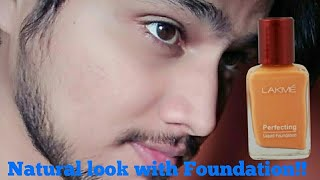Mens makeup using Lakme liquid foundation for natural look