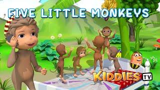 Five little monkeys jumping on the bed rhyme   Baby songs videos 2021   kid songs 2021   Kiddiestv