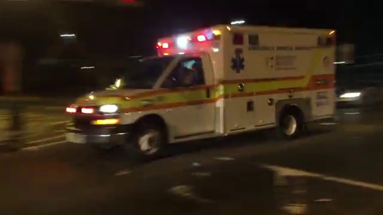 NEWARK UNIVERSITY HOSPITAL EMS AMBULANCE RESPONDING IN NEWARK, NEW JERSEY