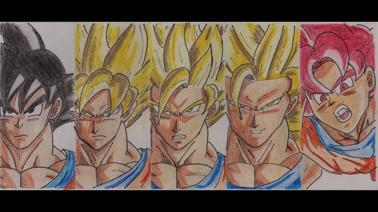 Goku Y Todas Sus Fases: Dibujando A Goku Todas Sus Fases (SSJ, SSJ2, SSJ3, SSJ