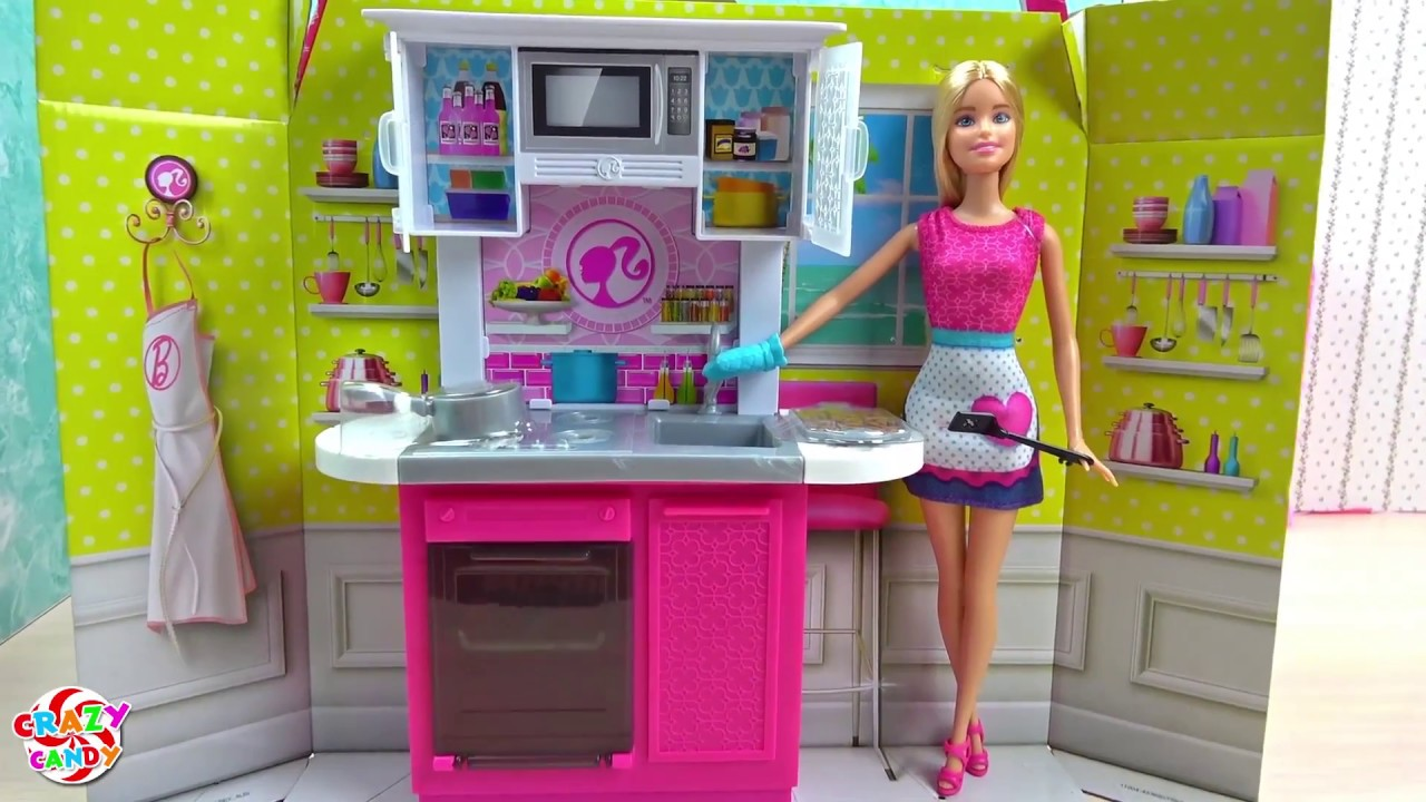 Barbie Ken And Princesses Morning Routine Play With Barbie Kitchen Playset Plus Unboxing