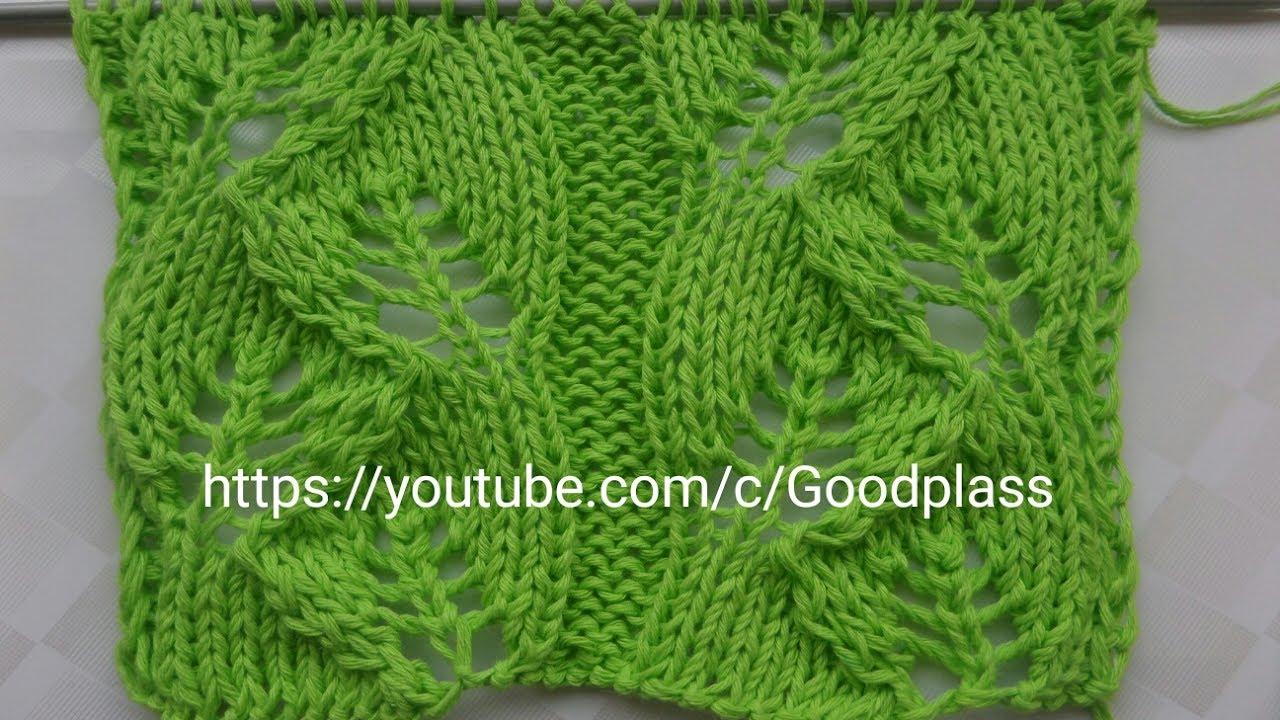 вязание ажурные листья видео
