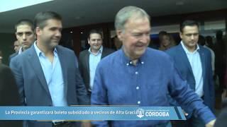 La Provincia garantizará boleto subsidiado a vecinos de Alta Gracia