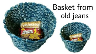 Reuse of old jeans| Basket made from old jeans| Best out of waste old jeans| Old jeans crafts| diy