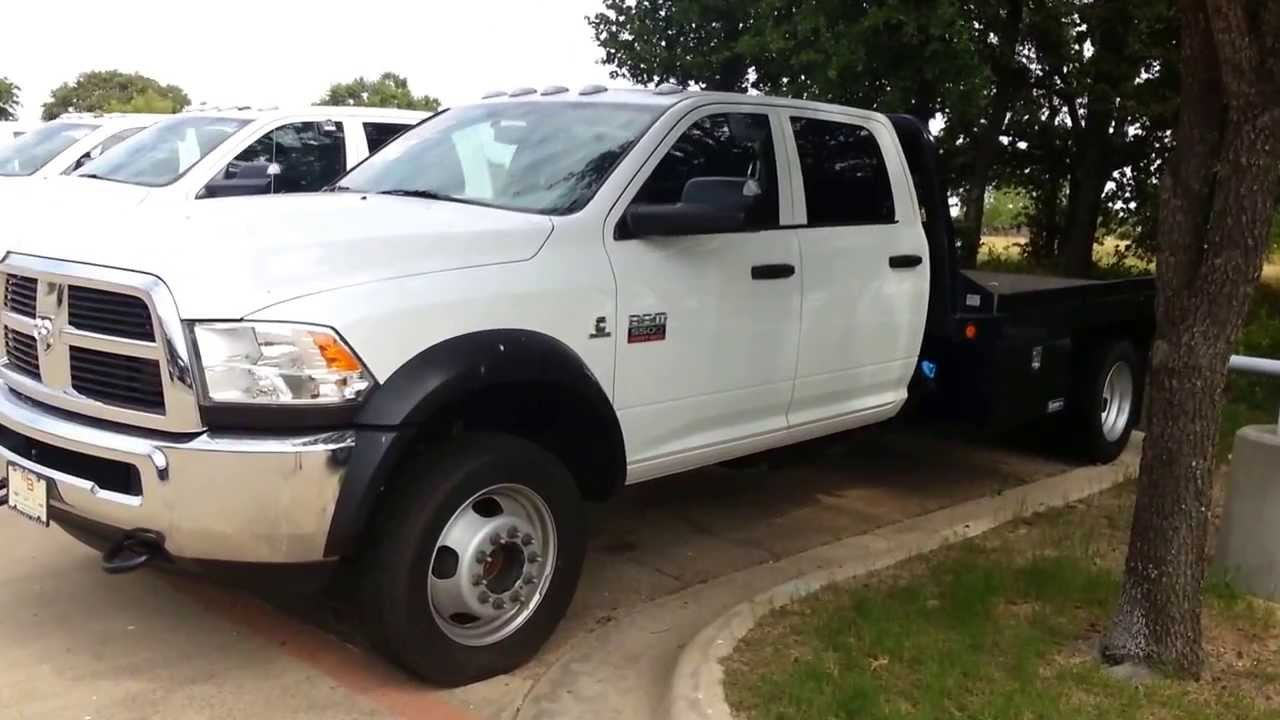 2012 Ram 5500 flatbed crew cab pickup truck Cummins Diesel - YouTube