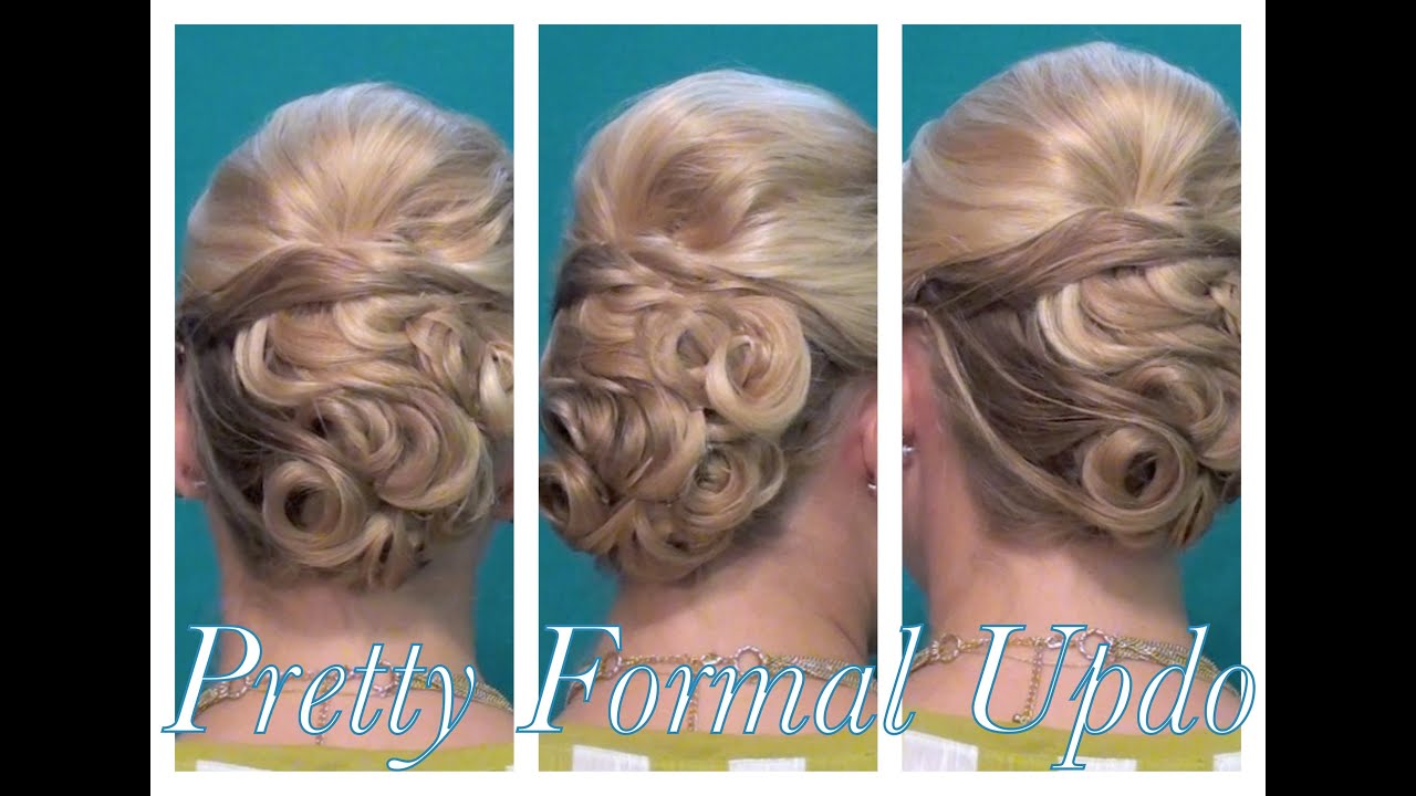 pretty pin-curled formal updo - youtube