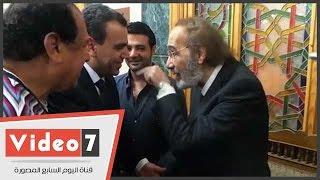وزير الثقافة ومحمود ياسين ومحمد رمضان فى عزاء عمر الشريف