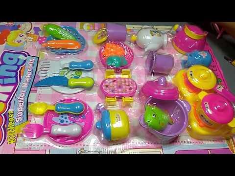 Unpacking Kids Kitchen Set & Cook Toys Food!